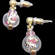Stunning Czech Art Glass Earrings, Crystal Czech Silver Foil Beads, Roses