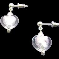 Fabulous Venetian Art Glass Earrings, Silver Foil Murano Glass Hearts
