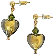 Elegant Olivine Venetian Art Glass Earrings, 24K Gold Foil Murano Glass Hearts