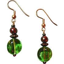 Fabulous Czech Art Glass Earrings, RARE 1960's Peridot Czech Glass Beads