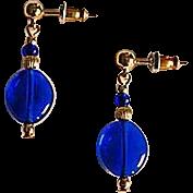 Stunning Venetian Art Glass Earrings, RARE 1940's Cobalt Blue Venetian Beads
