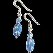 Dazzling Czech Art Glass Earrings, Rare 1960's Iridescent Blue Czech Beads