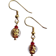 Fabulous Red Venetian Art Glass Earrings, 24k Gold Foil, Murano Glass Beads