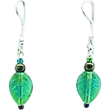 Fabulous German Pressed Glass Earrings, SCARCE 1960's Glass Beads, Leaf