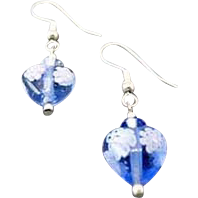 Stunning Venetian Millefiori Art Glass Earrings, Hearts, Flower, Blue & White Murano Glass Beads