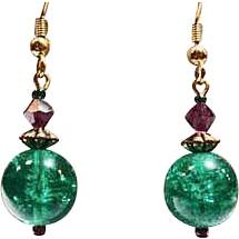 Fabulous Green German Art Glass Earrings, RARE 1960's German Crackle Glass Beads