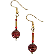 Gorgeous Aventurina Venetian Art Glass Earrings, Red & Black