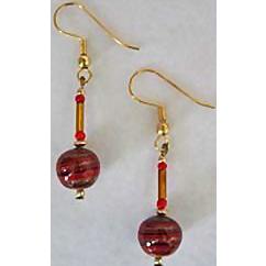 Gorgeous Aventurina Venetian Art Glass Earrings, Red & Black