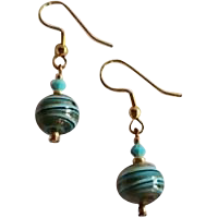 Gorgeous Aventurina Venetian Art Glass Earrings, Turquoise & Black
