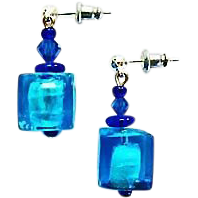 Gorgeous Venetian Art Glass Earrings, Aegean Blue Silver Foil Murano Glass Beads, Cubes