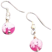 Beautiful Venetian Millefiori Art Glass Earrings, Pink & White Murano Glass Beads