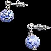 Stunning Venetian Millefiori Art Glass Earrings, Blue & White Murano Glass Beads