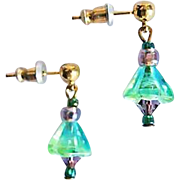 Gorgeous German Art Glass Earrings, RARE 1940's German Glass Beads