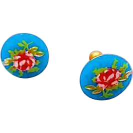 Stunning Turquoise Czech Art Glass Pierced Earrings, Scarce 1960's Czech Glass Beads, Pink & White Flowers