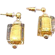 Gorgeous Venetian Art Glass Cube Earrings, 24K Gold Foil Murano Glass Beads, Cubes