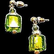Dazzling Venetian Art Glass Earrings, Peridot Green 24K Gold Foil Lampwork Murano Glass Beads, Cubes