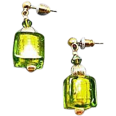 Dazzling Venetian Art Glass Earrings, Peridot Green 24K Gold Foil Lampwork Murano Glass Beads, Cubes
