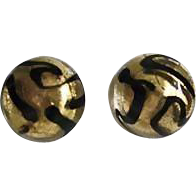 Fabulous Venetian Art Glass Pierced Earrings, 24K Gold Foil Murano Glass Beads, Black & Gold