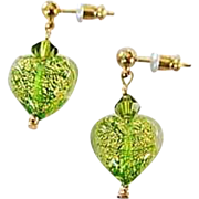 Stunning Venetian Art Glass Earrings, Peridot Green 24K Gold Foil Murano Glass Hearts