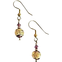 Fabulous Amethyst Venetian Art Glass Earrings, 24k Gold Foil, Lampwork Murano Glass Beads