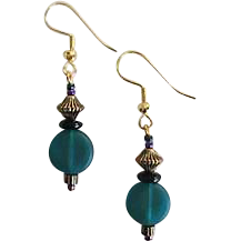 Gorgeous Teal Czech Art Glass Earrings, RARE 1940's Czech Satin Glass Beads