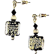 Dazzling Venetian Art Glass Earrings, Black & 24K Gold Foil, Murano Glass Beads
