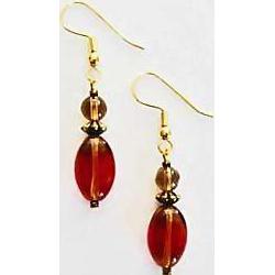 Fabulous German Art Glass Earrings, RARE 1940's German Glass Beads
