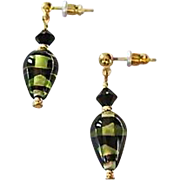 Stunning German Art Glass Earrings, SCARCE German Glass Beads, Olive Green, Black & Gold,