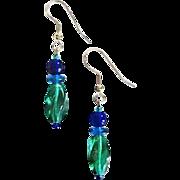 Gorgeous Teal Czech Art Glass Earrings, RARE 1940's Czech Beads