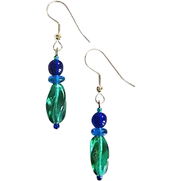 Gorgeous Teal Czech Art Glass Earrings, RARE 1940's Czech Beads