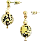 Dazzling Venetian Art Glass Earrings, Black & 24K Gold Foil Murano Glass