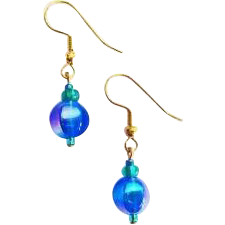 Gorgeous German Art Glass Earrings, RARE 1960's Metallic German Beads