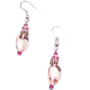 Gorgeous Pink Czech Art Glass Earrings, RARE 1960's Czech Glass Beads