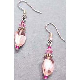 Gorgeous Pink Czech Art Glass Earrings, RARE 1960's Czech Glass Beads