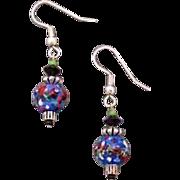 Fabulous Blue Czech Art Glass Earrings, RARE 1960's Czech Glass Beads