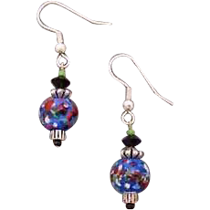 Fabulous Blue Czech Art Glass Earrings, RARE 1960's Czech Glass Beads