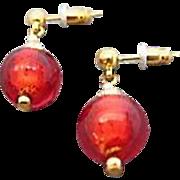 Stunning Rubino Venetian Art Glass Earrings, 24K Gold Foil Murano Glass Beads