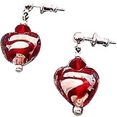 Gorgeous Venetian Art Glass Earrings, Red Swirl Silver Foil Murano Glass Hearts