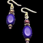 Fabulous German Satin Glass Earrings, RARE 1940's German Navy Blue Beads