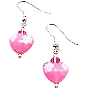 Stunning Venetian Millefiori Art Glass Earrings, Pink Hearts, Millefiori Murano Glass Beads, Flower
