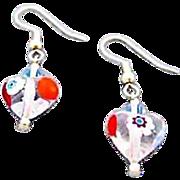 Stunning Venetian Millefiori Art Glass Heart Earrings, Millefiori Murano Glass Beads, Flower