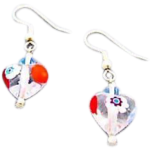Stunning Venetian Millefiori Art Glass Heart Earrings, Millefiori Murano Glass Beads, Flower