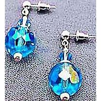 Dazzling Austrian Crystal Glass Earrings RARE 1940's Austrian Crystal Beads, Aquamarine