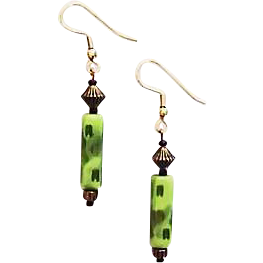 Mod Czech Art Glass Earrings, RARE 1960's Olivine Czech Beads