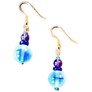 Stunning Blue German Art Glass Earrings, RARE 1950's West Germany Opalescent Beads
