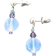 Gorgeous Aquamarine German Art Glass Earrings, RARE 1950's West Germany Opalescent Beads