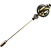 Stunning Venetian Art Glass Stick Pin, 24K Gold Foil Murano Glass Bead