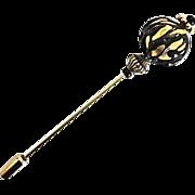 Stunning Venetian Art Glass Stick Pin, 24K Gold Foil Murano Glass Bead