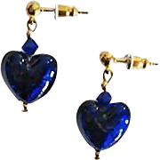 Gorgeous Venetian Art Glass Earrings, Cobalt Blue 24K Gold Foil Murano Glass Hearts