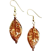 Dazzling Copper Aventurine Venetian Art Glass Earrings, Murano Glass Beads